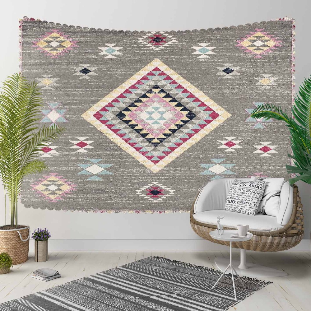 Else Ethnic Gray Pink Persian Kilim Design Vintage 3D Print Decorative Hippi Bohemian Wall Hanging Landscape Tapestry Wall Art