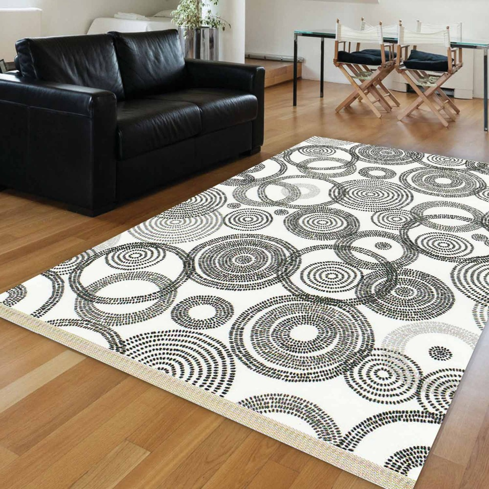 Else White Floor Black Circle Abstract  Geometrics 3d Print Anti Slip Kilim Washable Decorative Kilim Area Rug Bohemian Carpet