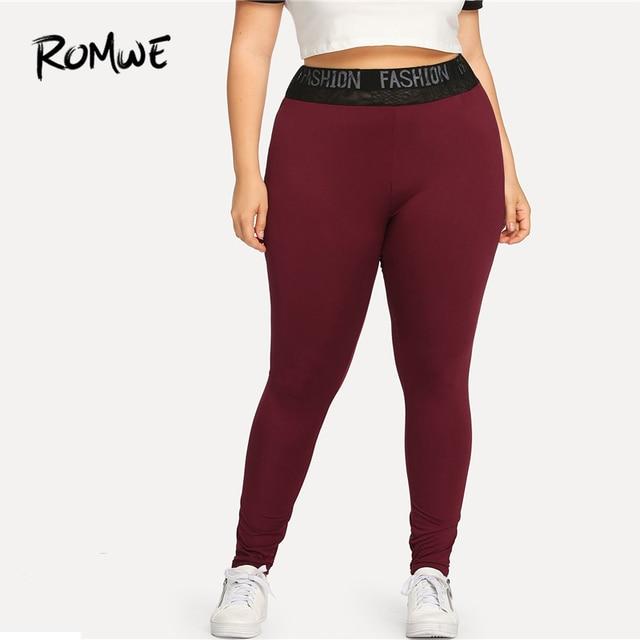 Romwe Спорт Плюс Размеры бордового цвета с буквенным принтом Для женщин трико для фитнеса и йоги для спортивного зала, для пробежки, Спортивна... 2