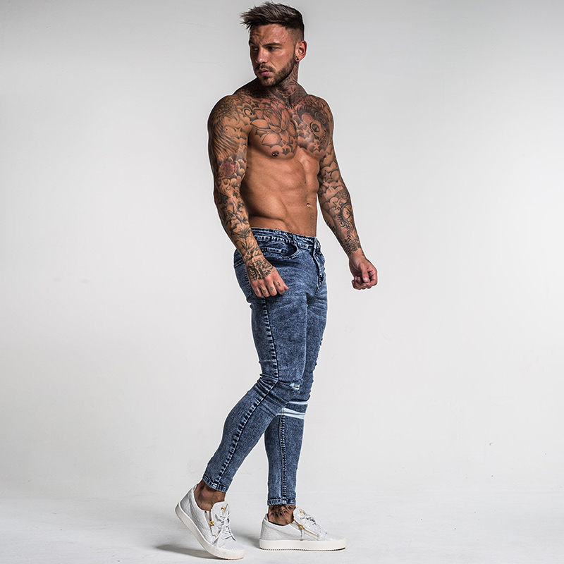 Image 4 - Gingtto Mens Skinny Jeans Slim Fit Ripped Jeans Big and Tall Stretch Blue Jeans for Men Distressed Elastic Waist 32 Leg 30 zm49-in Jeans from Men's Clothing