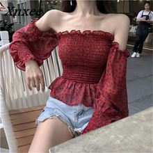 Xnxee Off Shoulder Red Short Chiffon Blouses Slash Neck Print Floral Slim Shirts Long Sleeve Sunscreen Summer Sexy Blusas 68065 цена 2017