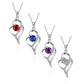 925 Sterling Silver Crystal Necklaces Pendants Sale Pure Silver Cross Jewelry For Women Silver Blue Red Hollow Zircon Necklace
