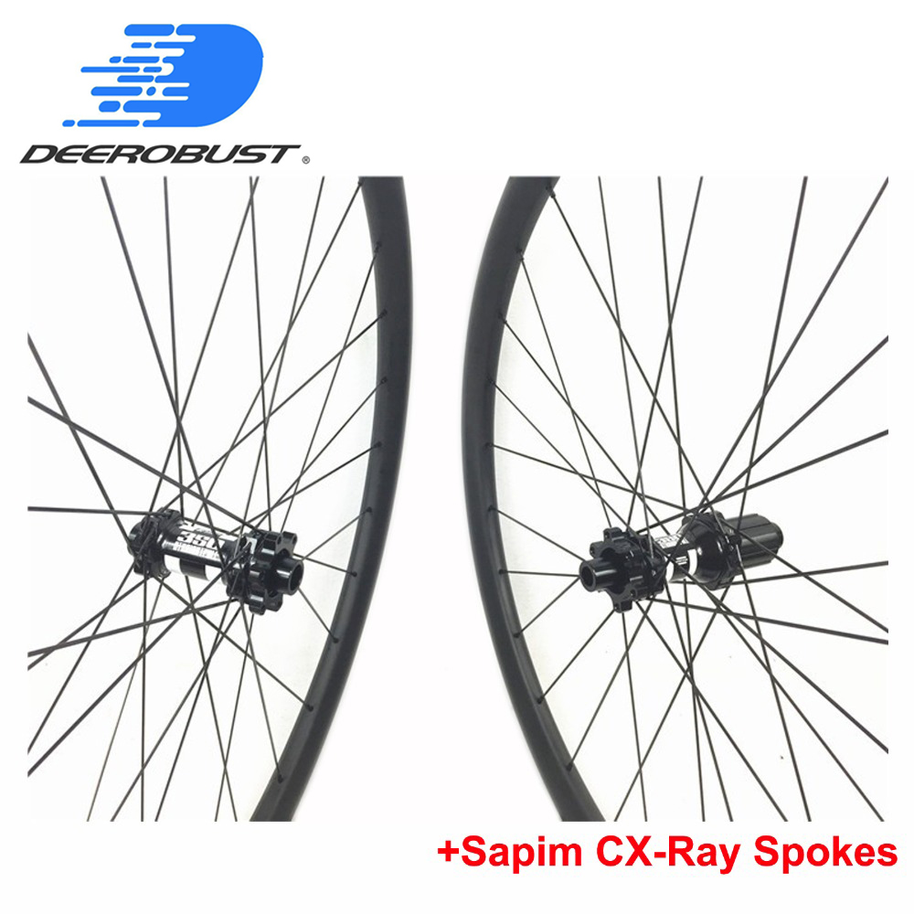 350S 6 Bolts Thru Axle 24mm XC Carbon Mountain Bike wheels Clincher Tubeless 26er 27 5er