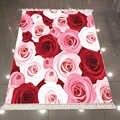 Alfombra de área Kilim decorativa lavable antideslizante de microfibra con estampado 3d de naturaleza Floral rosas rojas