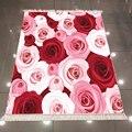 Sonst Rot Rosa Creme Rosen Blumen Floral Natur 3d Druck Mikrofaser Anti Slip Zurück Waschbar Dekorative Kelim Bereich Teppich Teppich