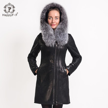 HappyFF Women's Fashion Fur Coat Fox Collar Suede Jacket Long Zipper Design Hooded 05868010101