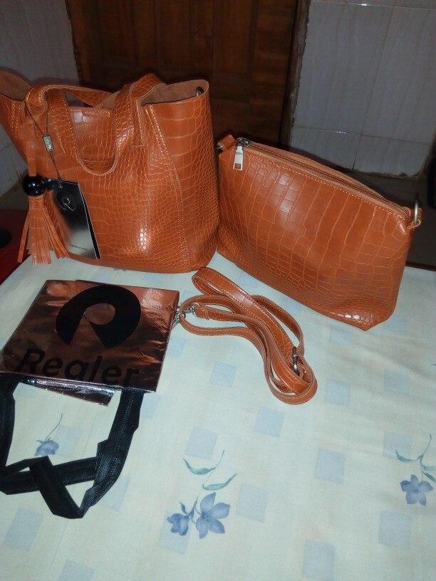 REALER brand 2pcs/set women bag large handbag with tassel artificial leather tote bag female small shoulder bag purse Black photo review
