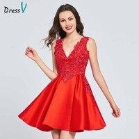 Dressv красные платья Линия homecoming платье v шеи аппликации образец атласная мини Танцы платье Элегантный homecoming & Выпускные платья