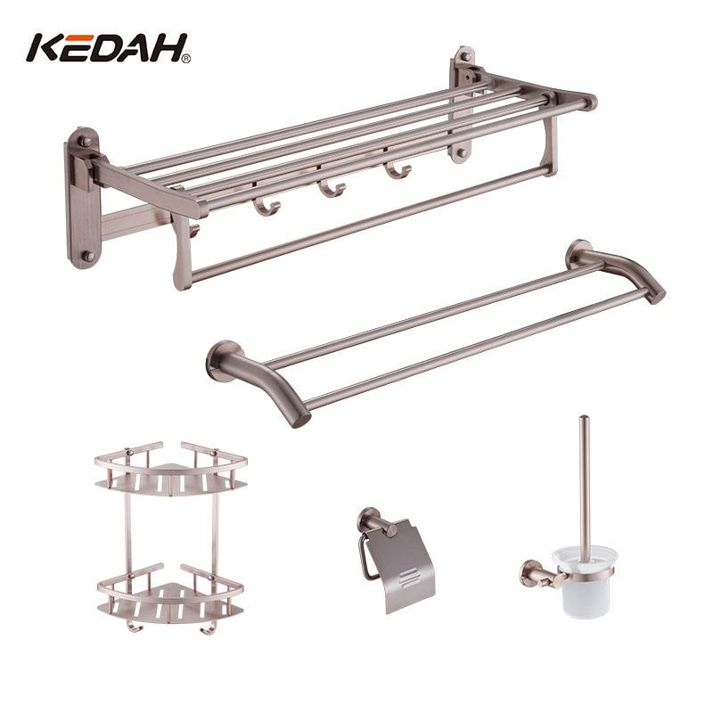 KEDAH 5 Pieces Bathroom Accessories Towel Rack Basket Paper Holer Toilet Brush Hardware Sets tbs kedah