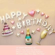 27PCS HAPPY BIRTHDAY Nastavit balónky Víno HAPPY BIRTHDAY Fóliové balónky pro dospělé narozeniny Boy Festival Girl Balloons Decorations