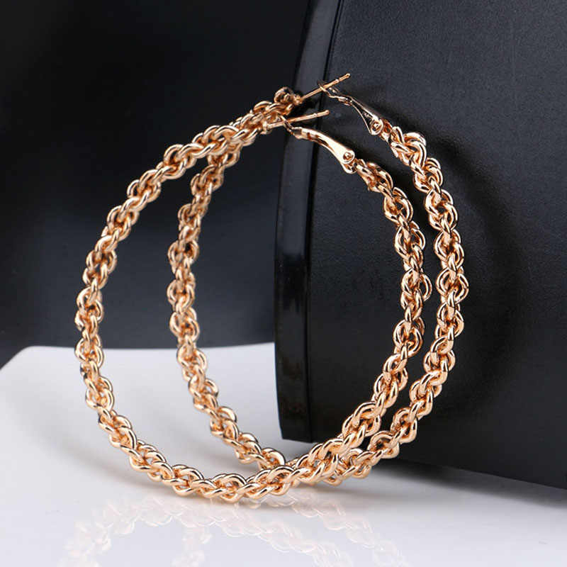 Personality Super Ropes Big Circles Hoop Earrings Twisted For Women Fashion Gold-color Jewelry Trendy Earrings Gift