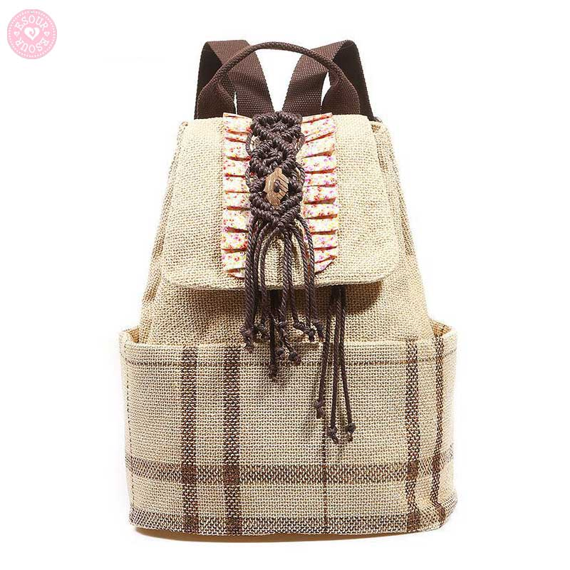 Etro Style Canvas Backpack Ethnic Backpacks Drawstring Backpack Girl Shoulder Bags
