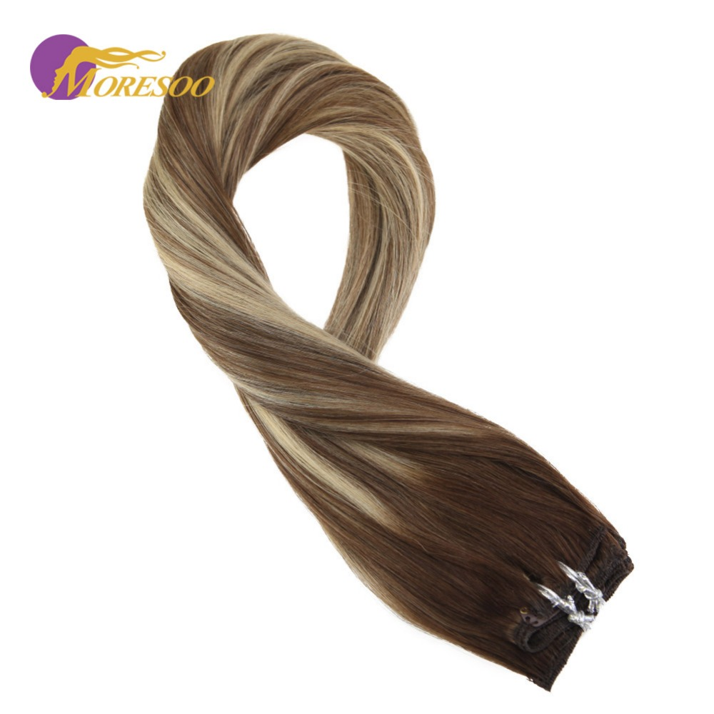 Moresoo 100 Real Remy Hair Clip In Hair Extensions Brown #4 Fading To Brown #8 Highlighted With Blonde #22 Human Hair 9Pcs/100G