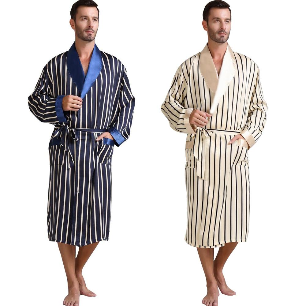 Mens Silk Satin Pajamas Pajama Pyjamas Sleepwear Robe Robes Nightgown Loungewear U S S M L