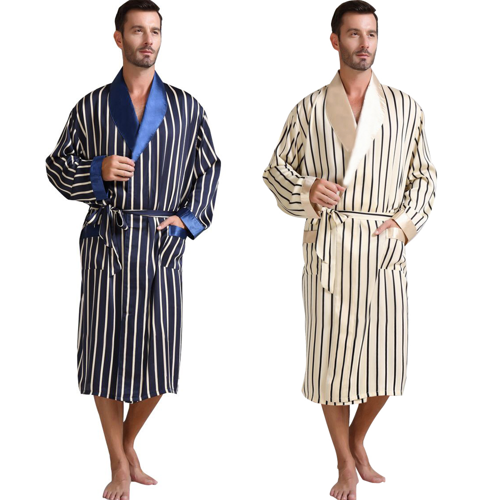 Mens Silk Satin Pajamas Pajama Pyjamas Sleepwear Robe Robes Nightgown  Loungewear  U.S.S  M  L XL 2XL 3XL Plus  Striped_ Gifts