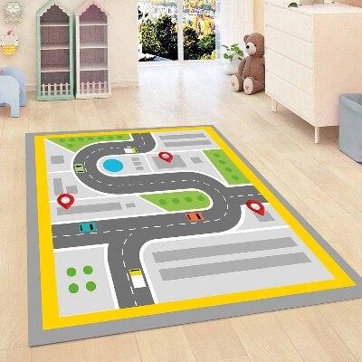 Else Yellow Gray Road Play Game Traffic Kids Room 3d Print Non Slip Microfiber Children Kids Room Decorative Area Rug Mat