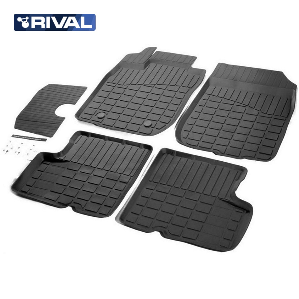 For Renault Duster 2WD 2010-2014 rubber floor mats into saloon 5 pcs/set Rival 64701001 for nissan terrano 4wd 2014 2019 rubber floor mats into saloon 5 pcs set rival 64701002