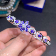 KJJEAXCMY boutique jewelry 925 Pure Silver Embedded Natural Tanzanite Gemstone Luxury Bracelet Support Detection