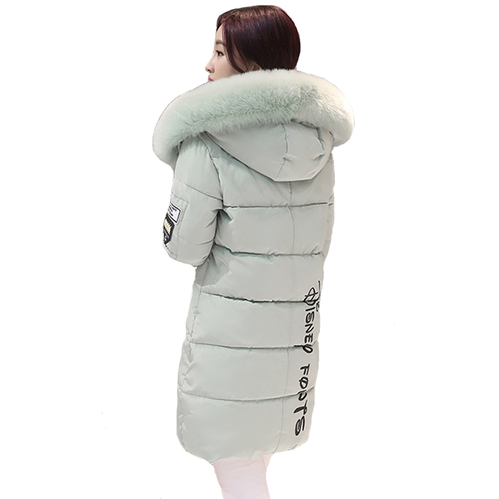 New Winter Women Basic Jacket Hooded Thick Warm Medium long Down Cotton Coat Fashion Long sleeve