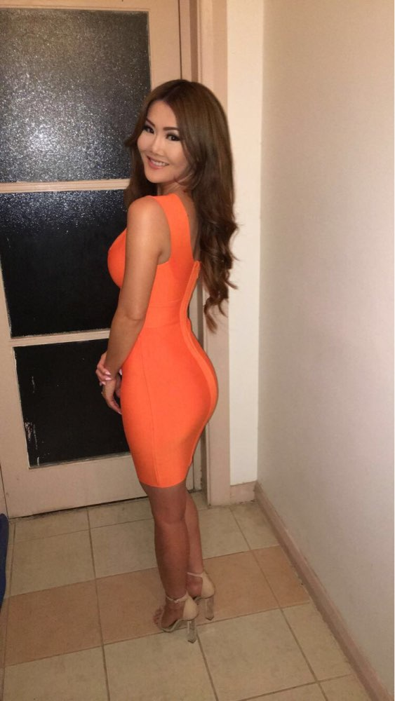 Ocstrade Sexy Dress Club Wear Summer Party Dress  Arrival Orange Deep V Neck Women Bandage Dress Bodycon Sleeveless Xl photo review