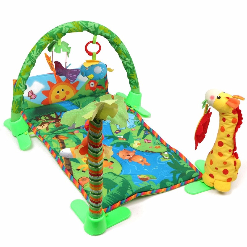 Baby Infant Play Mat Rainforest Musical Gym Melodies Lights Deluxe Activity Tummy Time Floor Crawl Playmat Toy Game Blanket baby toy musical instrument activity cube play center with lights 15 functions