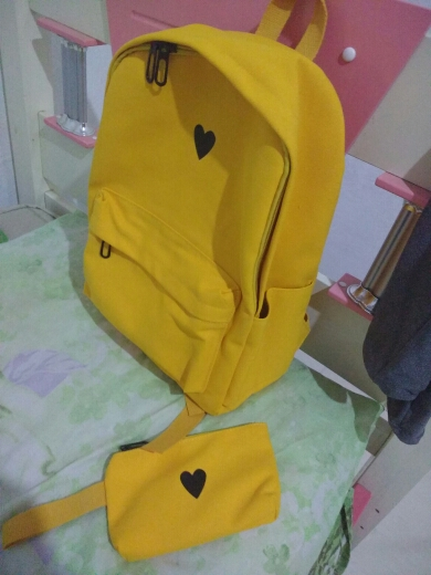 Moon Wood High Quality Canvas Printed Heart Yellow Backpack Korean Style Students Travel Bag Girls School Bag Laptop Backpack photo review