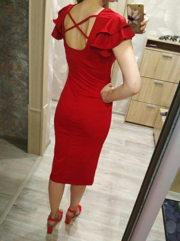Red Layered Ruffle Sleeve Crisscross Back Bodycon Dress Women Summer Elegant Sleeveless Solid Slim Midi Party Dress photo review