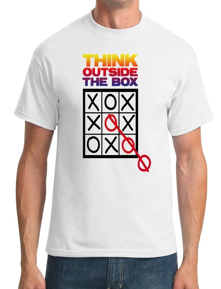 Print Cotton High Quality Short Sleeve Printing O-Neck Mens Think Outside The Box Tic Ta ...