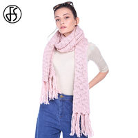 FS Acryli Scarf Women Winter Warm Feminine Solid Hand Crochet Knit 2017 Luxury Brand Long Scarves