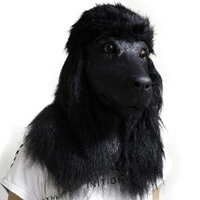Realistic Latex Poodle Dog Animal Head Mask Halloween Hen Stag Props Fancy Dress Costumes Black