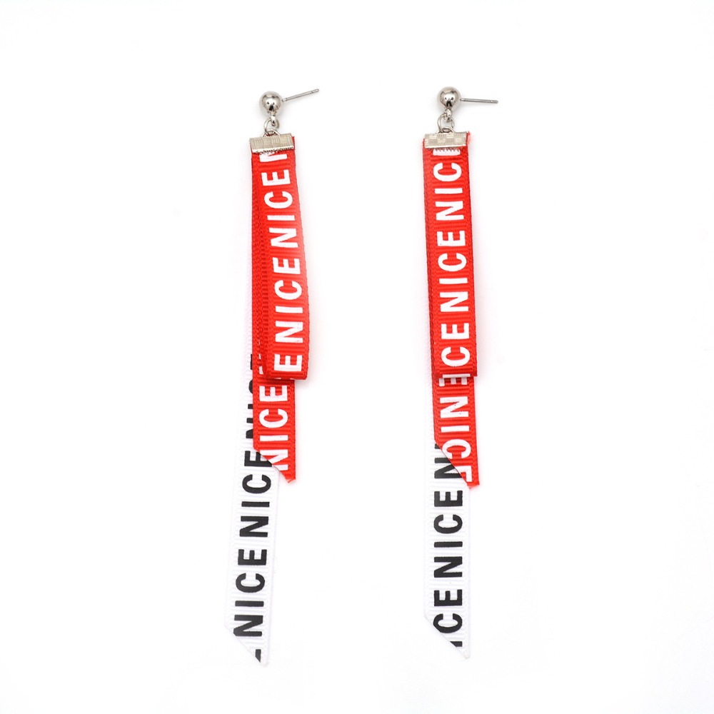 personality letter style dangle earrings for women ribbon lace tassel wedding engagement party jewelry female wholesale price