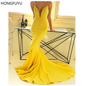 HONGFUYU Sexy Yellow Mermaid Evening Dresses Illusion Deep V-Neck Prom Formal Gowns Long Party Dress robe de soiree with Train(China)