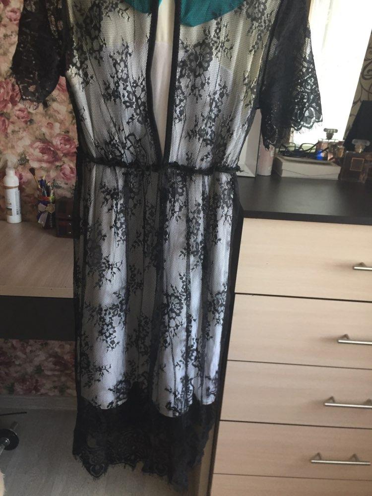 WEIXINBUY New Women Lace Dress Casual Long Black Short Sleeve O Neck See Through Beach Wear Dresses Plus Size