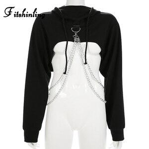 Image 3 - Fitshinling Chains cropped hoodie autumn harajuku streetwear cotton women hoodies sweatshirts crop top irregular red hoody 2018