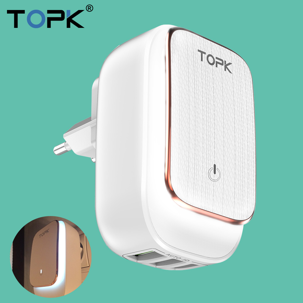 TOPK Usb-Charger Adapter Led-Lamp Travel iPhone Auto-Id Samsung 5V Max 3 for 3-Port Wall