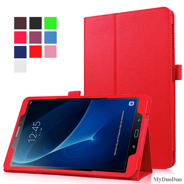 Tablet Case for Samsung Galaxy Tab A A6 10.1 2016 T585 T580 SM-T580 T580N PU Leather Slim Folding Litchi Style Funda Cases+Film