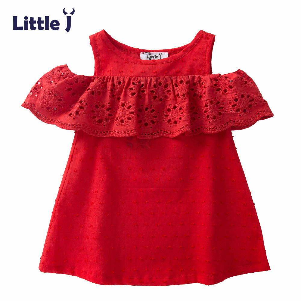 Little J Self Designed Girls Dress Lotus Leaf Hollow Lace Princess Dress Red Pink Color Sleeveless Girl Evening Dress Kids Cloth