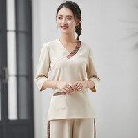 Wholesales Thai Spa Uniforms Womens Massagist Professional Work Clothing 2 Piece Set Beauty Salon Overalls Free Shipping