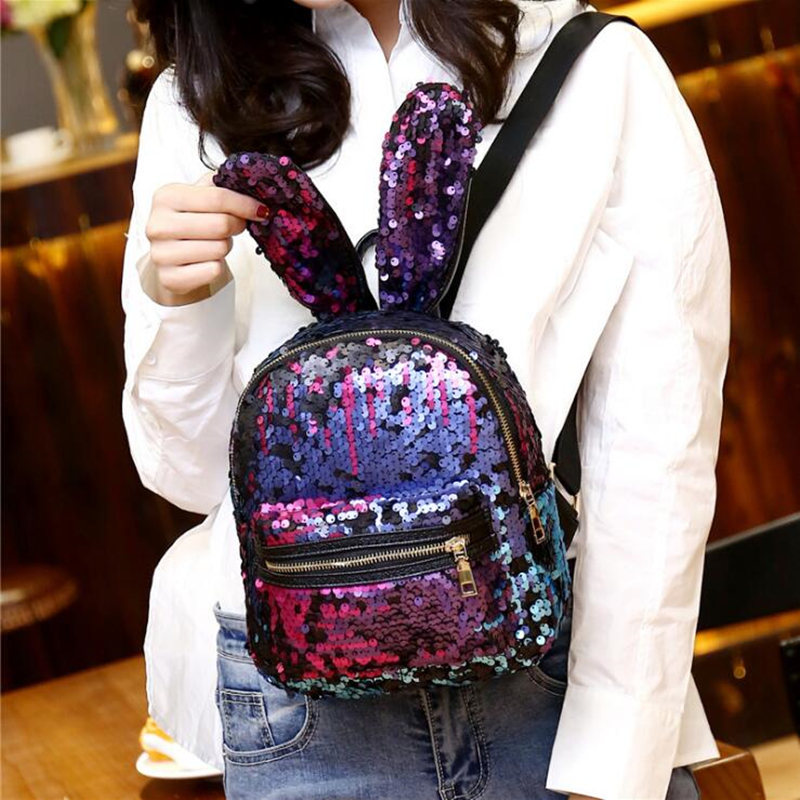 Sequins Backpack Girls Bling Mochila Rabbit Ears Shoulder Bag Newest Fashion School Bags Teenage Leisure Travel BackPack 2016 newest wave fashion backpack women casual dackpacks backpack school leisure travel school bags women s shoulder bags bolsos