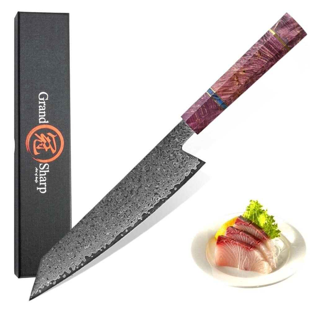 요리사 칼 vg10 다마스커스 강철 일본 부엌 칼 자주색 손잡이 kiritsuke 칼 새로운 작풍 요리 부속품 가정 공구 조각-에서주방 칼부터 홈 & 가든 의  그룹 1