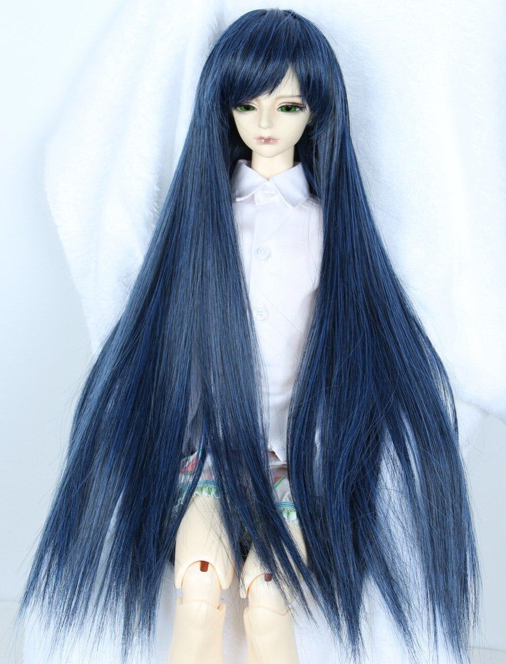 1/3 BJD Wig Pullip Dal DD DOD SD LUT Dollfie Doll Wig High Temperature Hair 8-9 inch Wig Black Blue