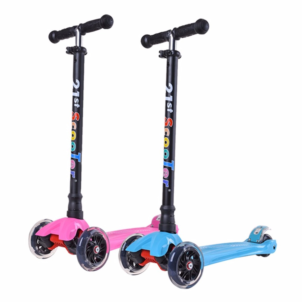 Lightweight Adjustable Height 4 Wheels LED Flashing Light Children Kick Scooter Kids Outdoor Playing Bodybuilding Scooter Toy