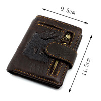 2017 Top Quality New Arrival Genuine Leather Wallet Wolf Totem Men Wallets Luxury Dollar Price Vintage