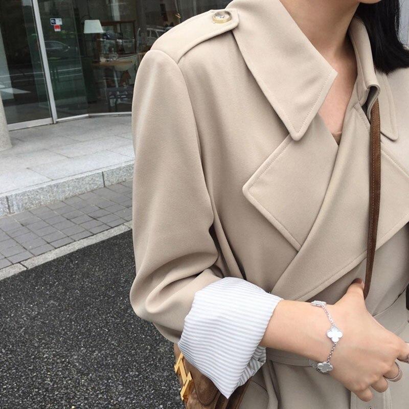 Women Outerwear Belt Trench-Coat Spring Worker Long-Windbreaker Female High-Street