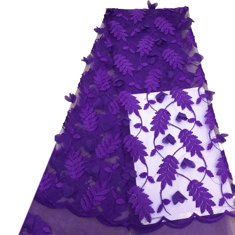 Best Selling Purple Tulle Dress Laces Nigerian Lace Fabric 2018 High Quality Lace 3d Embroidered Lace Fabric X938 8