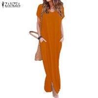 2017 Summer ZANZEA Women Casual Long Shirt Dress V Neck Short Sleeve Slit Sundress Loose Fashion