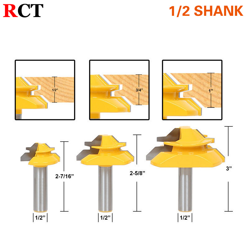 Set of 3 Lock Miter 45 Degree Glue Joint Router Bits .Glue Joint Set Woodworking cutter Tenon Cutter for Woodworking ToolsRCT 2 pcs 1 2t type shank 3teeth tenon cutter 4mm reversible glue bits of high quality dovetail router bits box joint router bit
