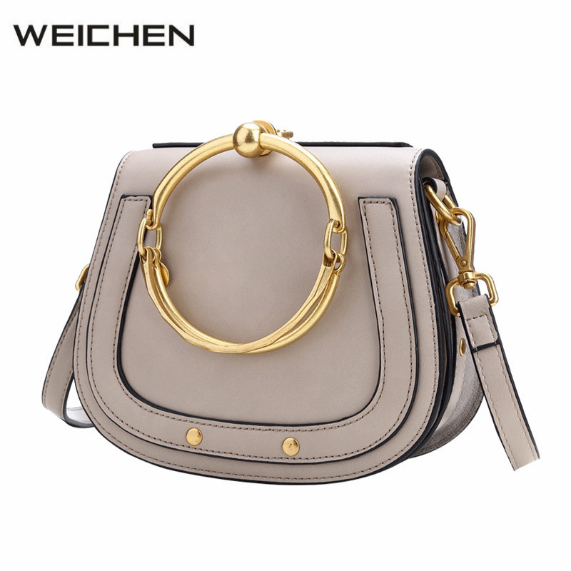 Designer Handbags High Quality 2018 Newest Fashion Metal Ring Women Messenger Bags Shoulder Bag Female Handbag Bolsa Feminina women messenger bags designer handbags high quality 2017 new belt portable handbag retro wild shoulder diagonal package bolsa