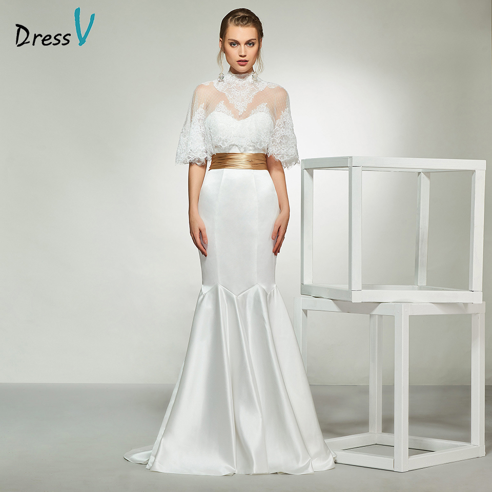 Dressv elegant ivory high neck half sleeves appliques wedding dress floor length simple bridal gowns mermaid wedding dresses