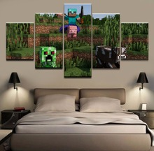 Print Minecraft 5 Pieces Canvas Painting Wall Decor Game Poster Wall Art Canvas Printed Pictures Home Decor For Living Room 5 pieces minecraft painting wall art modular pictures canvas printed modern artwork pictures wall decor game poster home decor
